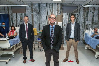 Leaders of the University of Queensland's vaccine team (from left) Trent Munro, Keith Chappell and Paul Young.
