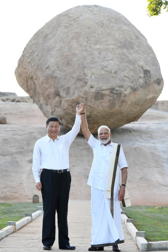 China's President, Xi Jinping, and India's leader, Narendra Modi, in Mamallapuram, India, during talks in October 2019.