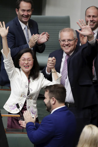 "Liberal MP Gladys Liu and Prime Minister Scott Morrison after her maiden speech, in which she declared, ""How good is Australia?"""