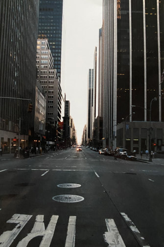 An eerily deserted 6th Avenue on the evening of the attacks.