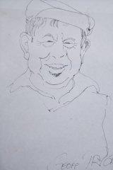 A sketch of George Thaung by former <i>Canberra Times</i> cartoonist Geoff Pryor.