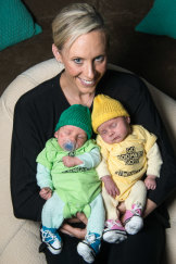 Renae Ingles with her twins two years ago.