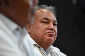 Nauru's President Baron Waqa at a press conference during the Pacific Islands Forum earlier this month.