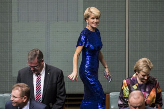 Julie Bishop's blue-sequinned Rachel Gilbert gown created a stir during the budget speech in April, 2019.