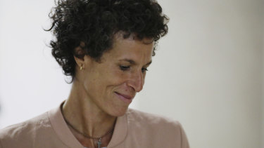 Andrea Constand arrives to resume her testimony during Bill Cosby's sexual assault retrial at the Montgomery County Courthouse in Norristown.