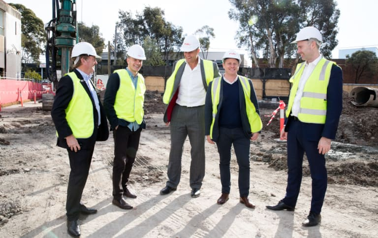 From left, Greg Paramor, Alex Thorpe, Ben Dodwell, Rhys Williams, Sean Wilson at a building site for a new Veriu hotel in Alexandria, Sydney.