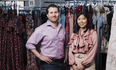 Dean Jones and Audrey Khaing-Jones from GlamCorner, whose inventory has surged from 40 dresses when the business started in 2012 to more than 12,000 today.