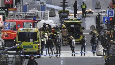 A view of the scene as emergency services work in the area after a truck crashed into a department store in central Stockholm, Sweden, in April,  2017.
