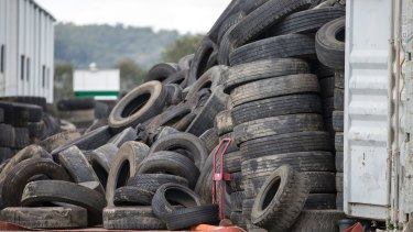 The piles of tyres at the Rocklea site, which the Department of Environment and Heritage Protection had raised concerns about before the fire in June.