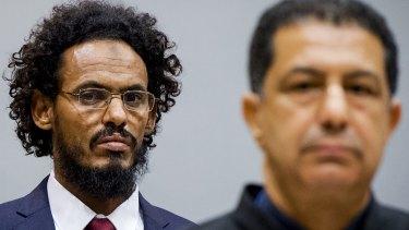 Ahmed al-Faqi al-Mahdi, left, at the International Criminal Court in The Hague in September 2015.