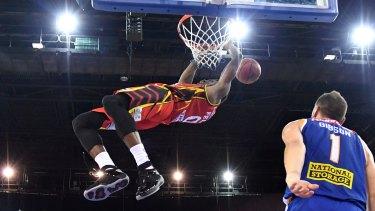 Felix with a huge dunk against Brisbane Bullets last month.