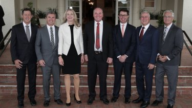 Nationals' Luke Hartsuyker, David Gillespie, Bridget McKenzie, Barnaby Joyce, David Littleproud, Michael McCormack and Damian Drum in December last year.