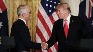 Prime Minister Malcolm Turnbull with US President Donald Trump at the White House last month.