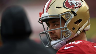 Star power: Former San Francisco 49er Jarryd Hayne could be an ideal player to promote an NRL game in the US.