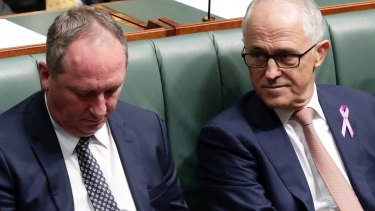 Barnaby Joyce and Malcolm Turnbull in Parliament on Thursday.