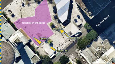 Proposed locations (yellow) for the fountain at King George Square.