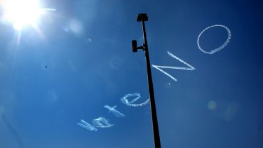 Sky-writing above Sydney's CBD earlier in September supported the negative in the debate on same-sex marriage.