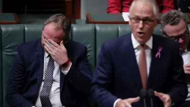 Deputy Prime Minister Barnaby Joyce and Prime Minister Malcolm Turnbull during question time on Thursday.