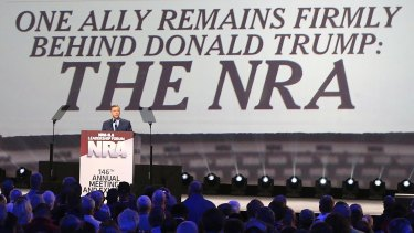 Donald Trump is introduced at the NRA Leadership Forum in April 2017 in Atlanta.