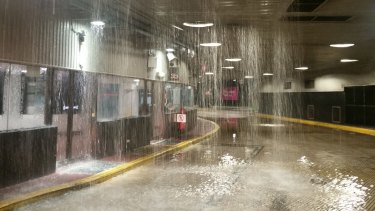 Queen Street bus station closed due to flooding in April, 2017.