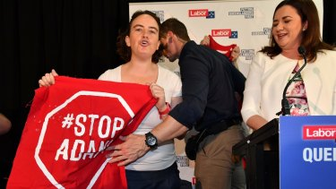 Labor's election campaign has been dogged by anti-Adani protesters.