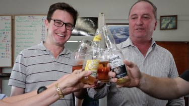 Nationals MP David Littleproud has a beer with Barnaby Joyce in Tamworth the evening before the New England byelection.