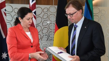 Experts working with Queensland Rail chairman Phillip Strachan, pictured here with Premier Annastacia Palaszczuk, have proposed a new public transport model for Queensland.
