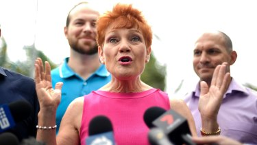 One Nation leader Pauline Hanson delivers a press conference in Yeppoon on Wednesday.