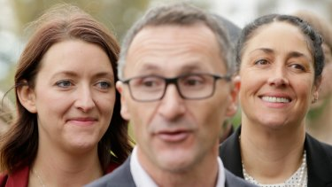The Greens leader Richard Di Natale with Ms Bhathal at a press conference in July.