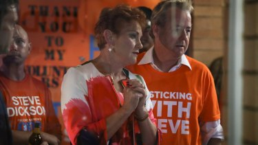 Pauline Hanson watches the results roll in.