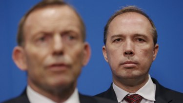 Former prime minister Tony Abbott and Home Affairs Minister Peter Dutton.