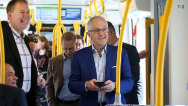 Prime Minister Malcolm Turnbull riding the Gold Coast light rail.