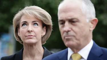 Michaelia Cash and Malcolm Turnbull address the media  on Wednesday.