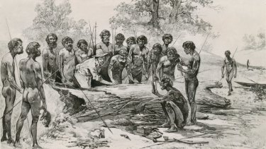 A non-contemporary engraving of John Batman meeting Aborigines on the banks of the Merri Creek.