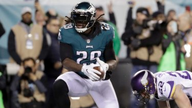 Philadelphia Eagles' LeGarrette Blount runs for a touchdown.  The Eagles and the New England Patriots are set to meet in Super Bowl 52 on Sunday