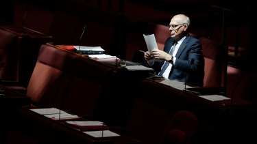 Jim Molan in the Senate chamber in Canberra.