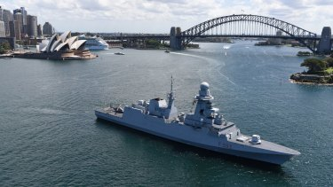 Fincantieri is pitching the FREMM model frigate - pictured in Sydney last year - to Australia for its new fleet.