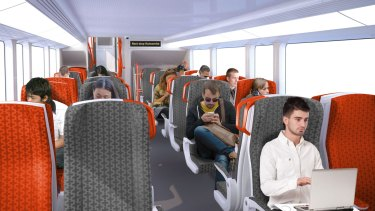 The intercity trains will have two-by-two fixed seating on their upper and lower decks.