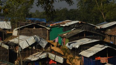 Shelters at Kutupalong refugee camp in Bangladesh.