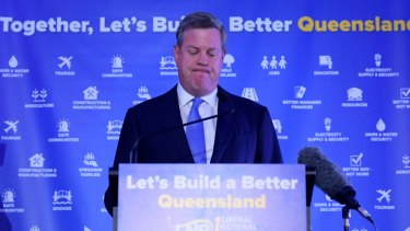 Queensland Opposition Leader Tim Nicholls speaks at the LNP election function on Saturday night.