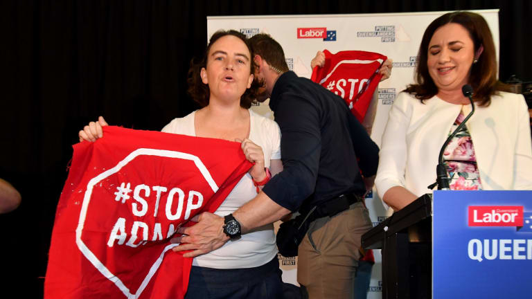Anti-Adani protesters have dogged Annastacia Palaszcuk's election campaign in regional Queensland.