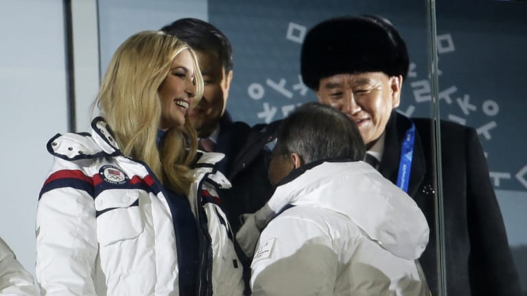 Ivanka Trump and Kim Yong Chol, right, vice-chairman of North Korea's ruling Workers' Party Central Committee, pictured at the closing ceremony of the 2018 Winter Olympics in Pyeongchang.