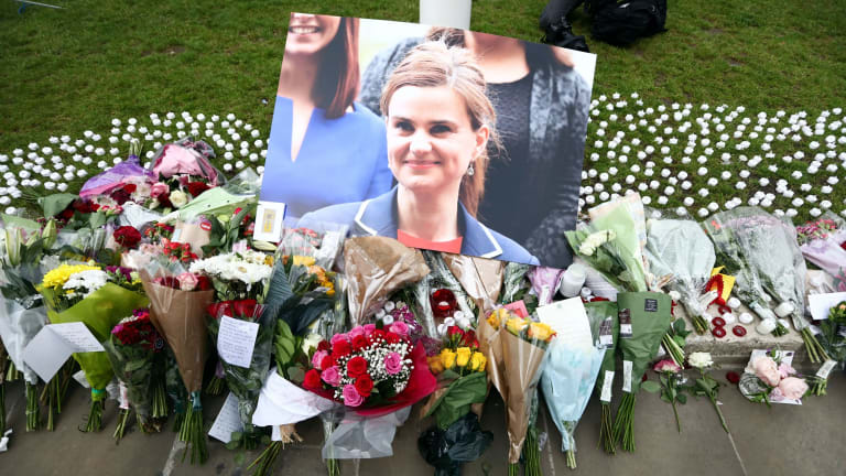 """British MP Jo Cox was killed by a neo-Nazi who yelled """"Britain first"""" as he stabbed her."""