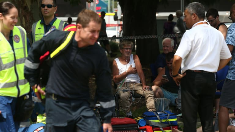 Rescue services at the scene of a train accident at Richmond railway station.