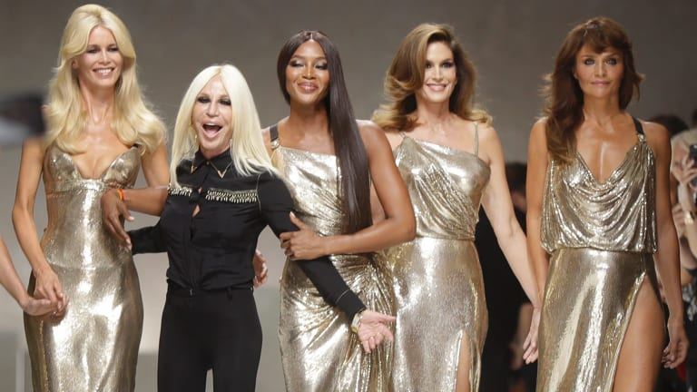 Helena Christensen (right) was part of the Versace supermodel reunion last September with (from left) Claudia Shiffer, Donatella Versace, Naomi Campbell and Cindy Crawford.