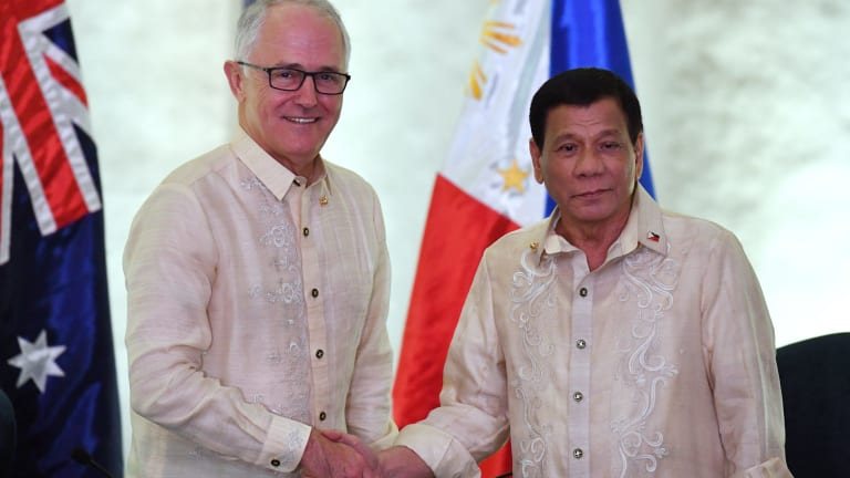 Australia's Prime Minister Malcolm Turnbull meets Philippines President Rodrigo Duterte for a bilateral meeting during the Association of South East Asian Nations (ASEAN) meeting.