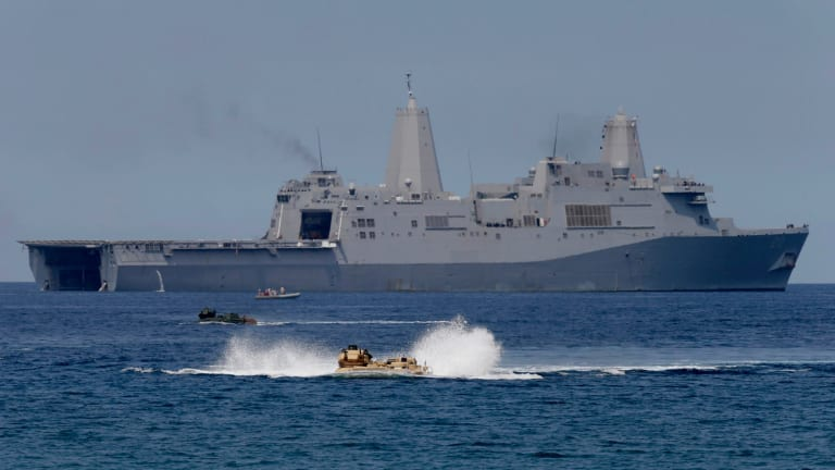 US and Philippine troops carry out manoeuvres in the South China Sea near Scarborough Shoal.
