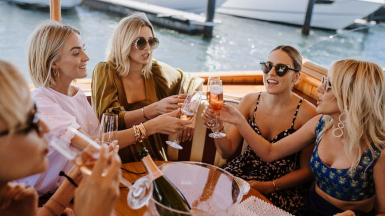 Nadia Fairfax, Jasmine Yarbrough, Deborah Symond and Montarna McDonald arrive by yacht to the lunch.
