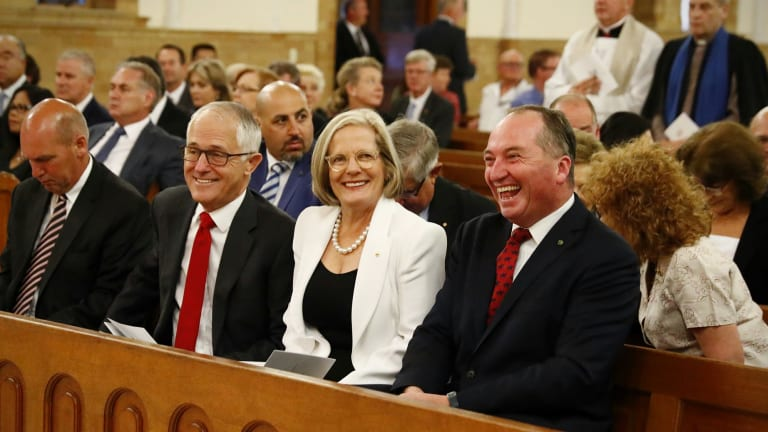 Prime Minister Malcolm Turnbull, Lucy Turnbull and Deputy Prime Minister Barnaby Joyce at a church service earlier in February.