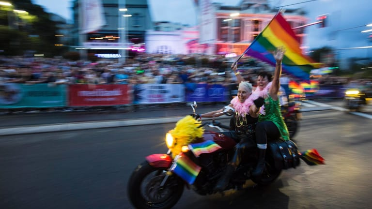 Dykes on Bikes and Boys on Bikes  will once again pass over the rainbow crossing at the 2018 Mardi Gras.